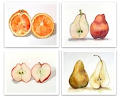 Mothers Day Art PRINT SALE 20% off set of 4 PRINTS / Fruit artwork your choice / Gift for gardener / Garden painting / Botanical still life