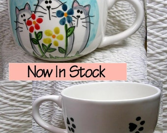 Cat & Flowers  Jumbo Soup or Latte Mug In Stock  Ready To Ship Handmade Earthenware Ceramic by GMS