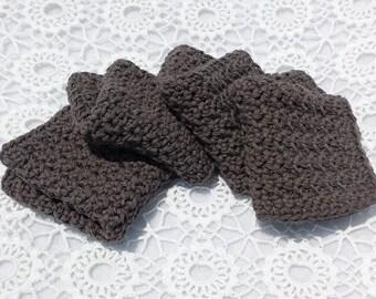 Gray Dishcloths Crochet Dish Cloths  Dish Rags Washcloths Wash Cloths Face Cloths
