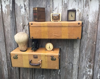 Pair of Wall Shelves Made from an Old Brown Tweed Stripe Suitcase Luggage Repurposed into Wall Shelves Shelf Travel Inspired