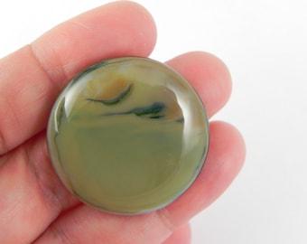 Round Fused Glass Cabochon - Khaki - 16112 - 30mm