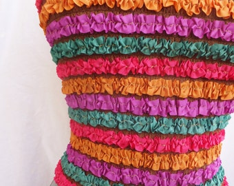 Vintage Tube Top in Multi Color Ruffles Vintage 1950's Tube Top Vintage 1960's Top Crop Top Strapless Top Summer Top Costume Tube Top