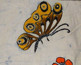 Batik Fabric 1970's Indonesian Batik Butterfly Monarch Orange Flowers Tropical Java Batik Cotton Fabric Javanese Summertime Fabric Circa
