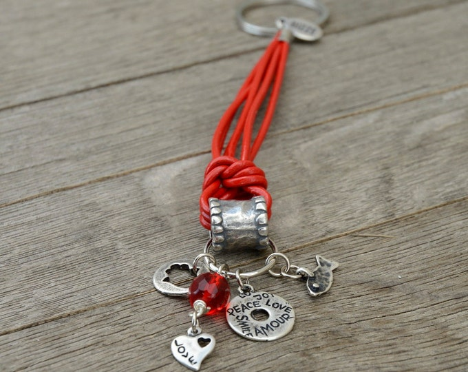 Red Leather Love and Luck Silver Plated Charms Keychain