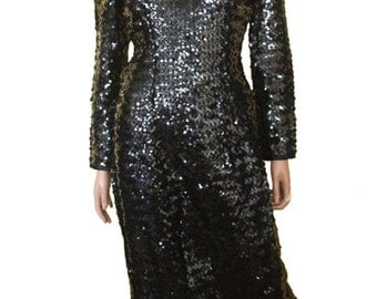 Vintage 80s Black Sequin Cocktail Dress 90s glam prom small medium drag goth club