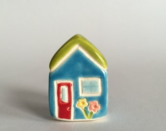 Little flower House Collectible Ceramic Miniature Clay House green blue
