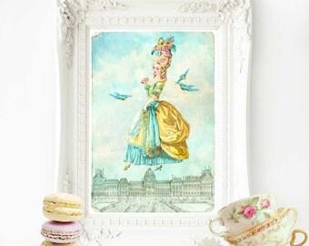 Marie Antoinette print, French vintage home decor, Paris, Marie Antoinette illustration, French decor, wall art, French decor, fantasy art