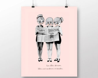 Three lovely girls - Vintage photos - Illustration - Collage - ART PRINT (different sizes)