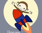Printable Nursery Decor Cute Monkey Rocket Gray Red Blue Boy's Room Children's Art Print DIY Download Wall Decor I Love You Quote Print MiKa