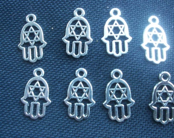 8 Hamsa Hand Charms Silver Tone Metal