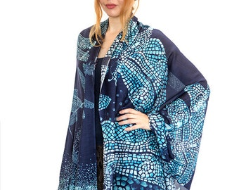Dragonfly Scarf, Blue Shawl, Natural Silk Scarf, Maxi Scarf, Beach Pareo, Maxi Sarong, Oversized Scarf, Chic Scarf, Beach Wrap,Hipster Scarf