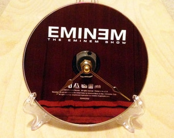 CD Clock, Desk Clock, Wall Clock, Eminem, Recycled Music Compact Disc, Upcycle, Battery, #1,  Wall Hanger & Stand ALL INCLUDED