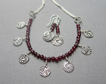 Garnet Necklace, Red Gemstone Necklace, Metal Charms, Sterling Silver, PMC Jewelry, January Birthstone, Valentine Gift, Bohemian Boho