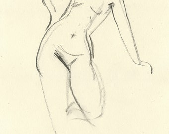 Original Charcoal Gesture Sketch Life Drawing of Standing Female Nude Figure - Rae Leaning to the Side