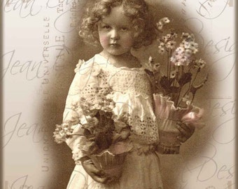 Elisa Holding Flowers For You, French Postcard Collage- Photo Scan, Instant Digital Download FrA184