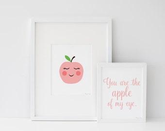 Nursery Decor Wall Art, Apple Art Print, Apple Kids Room Decor, Modern Minimalist Kids Wall Art, Apple Nursery Art Print, Apple of my Eye