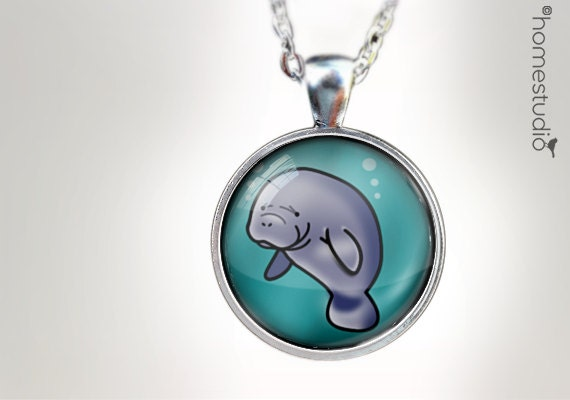 Manatee : Glass Dome Necklace, Pendant or Keychain Key Ring. Gift Present metal round art photo jewelry HomeStudio. Silver Copper Bronze