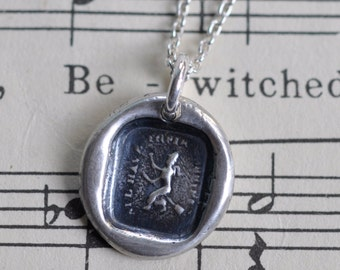 witch wax seal necklace pendant ... all have their hobbies - sterling silver Victorian wax seal jewelry