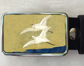 Flying Bird Belt Buckle made from an egret painting.   Belt buckles for men and women.