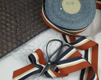 1Y Vintage Grosgrain Ribbon Stripe Rust, Navy, Taupe And White