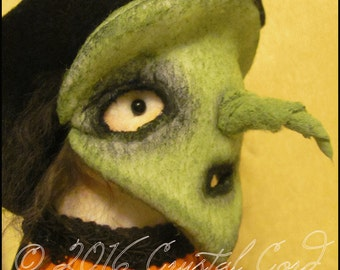 Halloween Trick or treat witch girl mask green spooky Doll Whimsical creepy cute country decor cottage chic Farm Quirky hafair ofg team