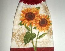 Crochet Top Sunflower Towel - Hanging Sunflower Towel - Hanging Kitchen Towel - Dish Towel - Kitchen Towel - Bright Sunflowers