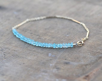 Tiny Delicate Genuine Faceted Apatite Bead and Gold Chain Bracelet