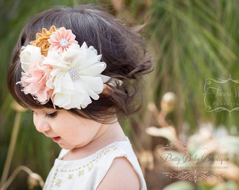 Baby Headband - Baby Peach and Gold Headband - Baby Holiday Headband - Baby Photo Prop - Baby Couture Headband