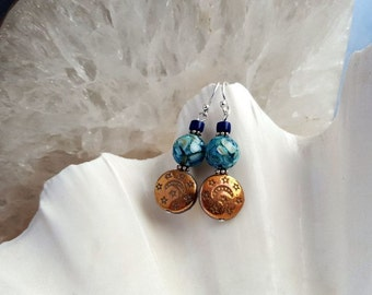 Coppery Bronze and Blue Teal Boho Chic Earrings - Czech glass coin shape moon and star beads, round shell beads