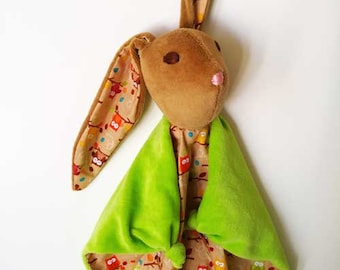 Baby Bunny Blanket , All Natural Materials, Green and Owls