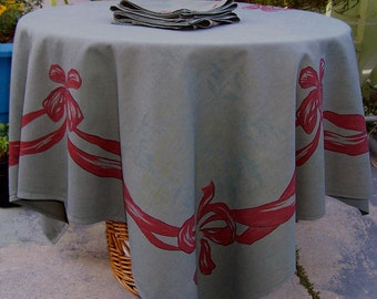 Vintage Mid Century Tablecloth Christmas Bows GRAY Green 6 napkins