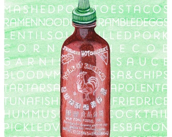 Sriracha Hot Chili Sauce Watercolor + Colored Pencil Illustration
