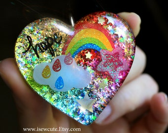 Huge Heart Pendant Necklace, Rainbow Hope Resin Pendant, Rainbow Colorful, Large Statement Necklace Big Heart Pendant, Handmade isewcute