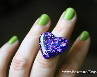 Jewelry, Resin Ring, Purple Glitter Out of this World Sparkly Deep Purple Heart Shaped Ring - Handmade Resin Glitter Ring by isewcute