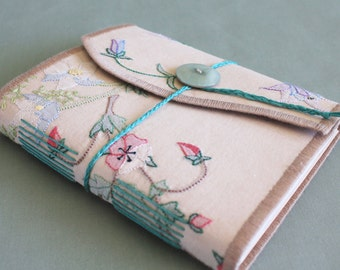 Tea Time Vintage Linen Softcover Embroidered Journal 06 by PrairiePeasant