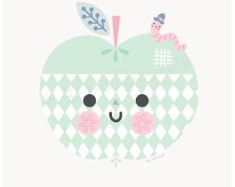 APPLE PRINT, A4 wall art Illustration, mint, apple design, nursery room decor, kids, garden, children, pink, modern, Scandinavian, kawaii