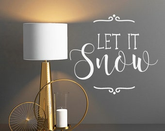Let It Snow Decal Words Christmas Wall decal Decor, Christmas Decals, Christmas Wall Stickers, Christmas Quotes, Christmas Wall Decals, Snow