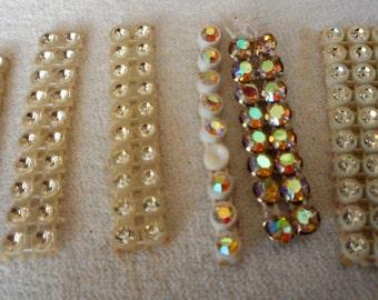 Lot of 6 Small VINTAGE Aurora Borealis & Glass Rhinestone Mesh Jewelry Fabric Trim Pieces  2