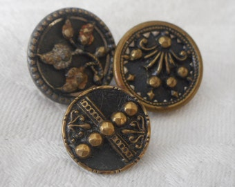 Lot of 3 ANTIQUE Small Metal BUTTONS