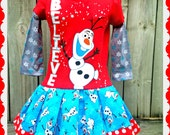 girls Olaf dress Frozen Christmas Dress size 2t 3T 4T and 5T ready to ship