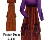 Birch Street Clothing Maxi Pocket Dress High Waist Empire Size S M L XL XXL Uncut Sewing Pattern 1999