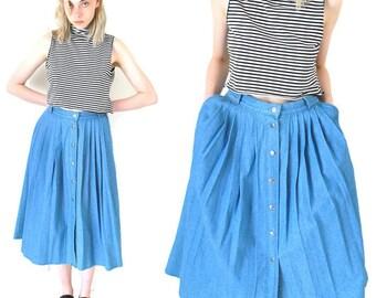 button down CHAMBRAY skirt vintage 1980s 80s long pleated WESTERN midi skirt vintage light DENIM jean skirt medium os