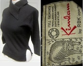 Vintage 60s Angora Pin Up Sweater Black Fitted Pixie Style with Sexy Split Hip KIMLAM Size 36