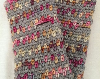 wool and silk fingerless gloves hand knitted