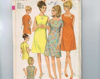1960s Vintage Sewing Pattern Simplicity 7120 Misses Basic A Line Dress Dart Fitted Neckline Variations Size 14 Bust 34 1965 60s
