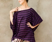 Sale - TWIG URBAN TOP - Loose Baggy Tank Over size Plus size Hipster Hippie Boho Tunic Dress Burning man One size - Purple black Stripy