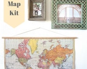 Pin Your World Travels Map Hanging Cork Kit - Paper Anniversary Wedding Gift for the Wanderlust Explorers
