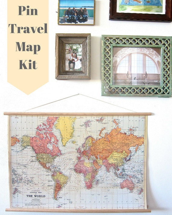 Pin Your World Travels Map Hanging Cork Kit Paper – Maps To Pin Your Travels