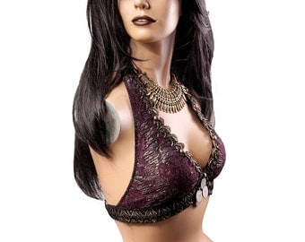 Halter, A Cup, Prince Purple, Gold, Black, Kuchi Coins, Bellydance, Costume, Tribal, Fusion, Sequins, Hoop, Circus, Carnival, Bra