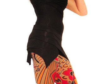 Black Mini Pixie Skirt - Dance skirt, Flirty, Fairy, Eco Festival wear